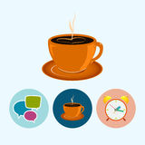 Set icons with   speech bubble , cup of tea ,alarm clock, cup of coffee, vector illustration Stock Image