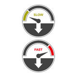 Set of icons. Of a speedometer with slow and fast loading. Vector illustration Stock Image