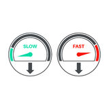Set of icons of a speedometer. With slow and fast loading. Vector illustration Stock Images