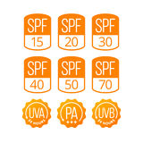 Set of Icons SPF, UVA and UVB for Sunscreen Cosmetics Packagin. G. EPS 10. RGB Stock Images