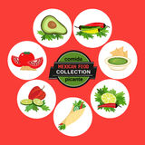 Set of icons. Spicy cuisine Stock Photography