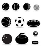 Set icons sport balls black silhouette vector illu Royalty Free Stock Photos