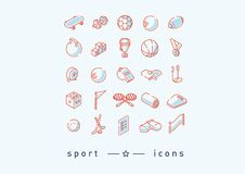 Set of icons on sports, sports items Stock Photography