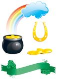 Set of icons for St. Patricks Day. Vector icon set of green floral banner with clover leaves,    pot with gold coins,   rainbows and horseshoe  isolated on Royalty Free Stock Photo