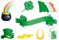 Set icons for St. Patricks Day. Vector Set of  green hat, beer, clover, horseshoe, ireland flag, banner,  leprechauns pot with gold coins Stock Photos