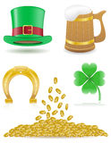 Set icons St. Patrick`s day  illustration Stock Images
