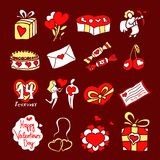 Set of icons for St. Valentines Day. Illustrations by St. Valentines Day for design Stock Photos