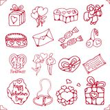Set of icons for St. Valentines Day. Monophonic illustrations by St. Valentines Day for design Royalty Free Stock Image