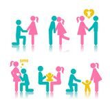Set of icons stages of creating a family. A meeting of lovers, planning pregnancy, birth and child-rearing Stock Images