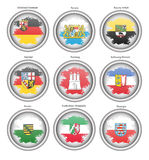 Set of icons. States of Germany flags. Stock Photo