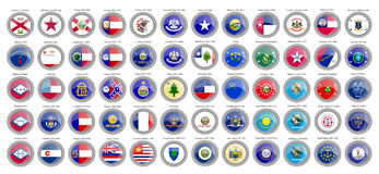 Set of icons. States of the USA flags. Royalty Free Stock Photography