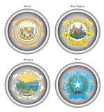 Set of icons. States of USA seals. Royalty Free Stock Images