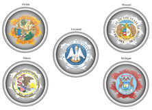 Set of icons. States of USA seals. Royalty Free Stock Photos
