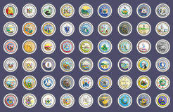 Set of icons. States of USA seals. Stock Image