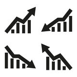 Set of icons of statistic arrow. Vector illustration. Set  of icons of statistic arrow. Vector illustration Royalty Free Stock Images