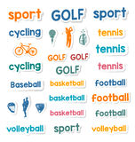 Set of Icons and Stickers Sports Games Stock Images