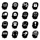 Set of icons. Stock image - a set of black icons, black silhouette of a man's head Stock Image