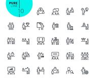 Set of icons for strategy, planning and teamwork Stock Photos