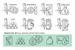 Set Icons in style flat line. Theme - Finance.  Royalty Free Stock Photo