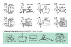Set Icons in style flat line. Theme - Finance.  Stock Photo