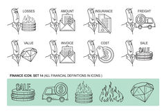 Set Icons in style flat line. Theme - Finance.  Stock Image