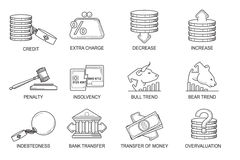 Set Icons in style flat line. Theme - Finance.  Stock Images