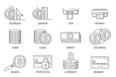 Set Icons in style flat line. Theme - Finance Royalty Free Stock Image