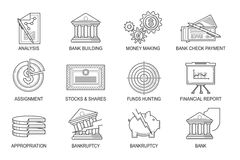 Set Icons in style flat line. Theme - Finance Royalty Free Stock Photography