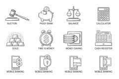 Set Icons in style flat line. Theme - Finance Stock Images