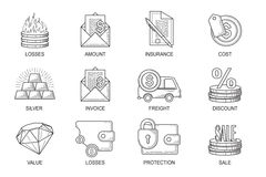 Set Icons in style flat line. Theme - Finance.  Stock Photography