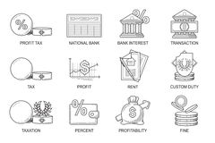 Set Icons in style flat line. Theme - Finance Royalty Free Stock Photos
