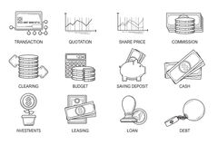 Set Icons in style flat line. Theme - Finance Royalty Free Stock Photo