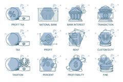 Set Icons in style flat line. Theme - Finance Stock Photo