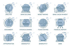 Set Icons in style flat line. Theme - Finance Royalty Free Stock Images