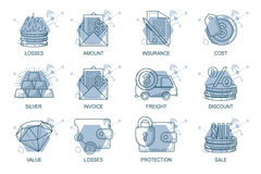 Set Icons in style flat line. Theme - Finance.  Royalty Free Stock Images