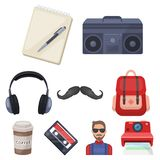 A set of icons about the style of a hipster. A peculiar youth style. Hipster style icon in set collection on cartoon Royalty Free Stock Photos