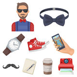 A set of icons about the style of a hipster. A peculiar youth style. Hipster style icon in set collection on cartoon Stock Images