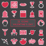 Set of 22 icons in style monoline for Happy Valentine's Day. Vec Stock Images