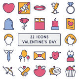 Set of 22 icons in style monoline for Happy Valentine's Day Stock Photo