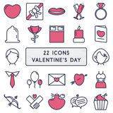 Set of 22 icons in style monoline for Happy Valentine's Day Royalty Free Stock Photography