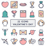 Set of 22 icons in style monoline for Happy Valentine's Day Royalty Free Stock Photo