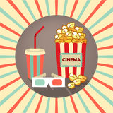 Set of icons in the style an old movie. 3d glasses, popcorn, a drink with straw on background rays. Movie time. Movie showing with Popcorn and drinks. 3D Stereo Royalty Free Stock Image