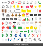 Set of 100 icons. Style 1, set 1. Vector of 100 flat icons. Style 1, set 1 Stock Image