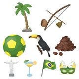 Set of icons on the subject of Brazil. Brazilian national attractions. Brazil country Aicon in set collection on cartoon Stock Photography