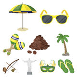 Set of icons on the subject of Brazil. Brazilian national attractions. Brazil country Aicon in set collection on cartoon Royalty Free Stock Photography