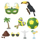 Set of icons on the subject of Brazil. Brazilian national attractions. Brazil country Aicon in set collection on cartoon Royalty Free Stock Images