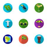 Set of icons on the subject of Brazil. Brazilian national attractions. Brazil country Aicon in set collection on flat Royalty Free Stock Photo