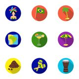 Set of icons on the subject of Brazil. Brazilian national attractions. Brazil country Aicon in set collection on flat Stock Photography