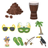 Set of icons on the subject of Brazil.. Set of icons on the subject of Brazil. Brazilian national attractions. Brazil country Aicon in set collection on Royalty Free Stock Images