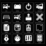 Set of Archive, Controls, Unlocked, Id card, Notepad, Upload, Ca. Set Of 16 icons such as Archive, Controls, Stopwatch, Unlocked, Frame, Mute, Calendar, Notepad Royalty Free Illustration
